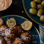 Tangy and salty, these blue cheese stuffed fried olives are a perfect complement to any Spanish tapas table. Serve with a creamy aioli.