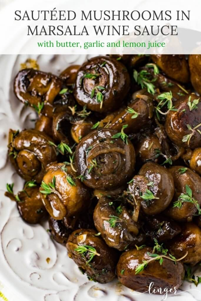 Sauteed mushrooms with thyme sprinkles over the top sit in a white bowl.