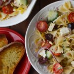 Mediterranean Pasta Salad and Toasted Baguette