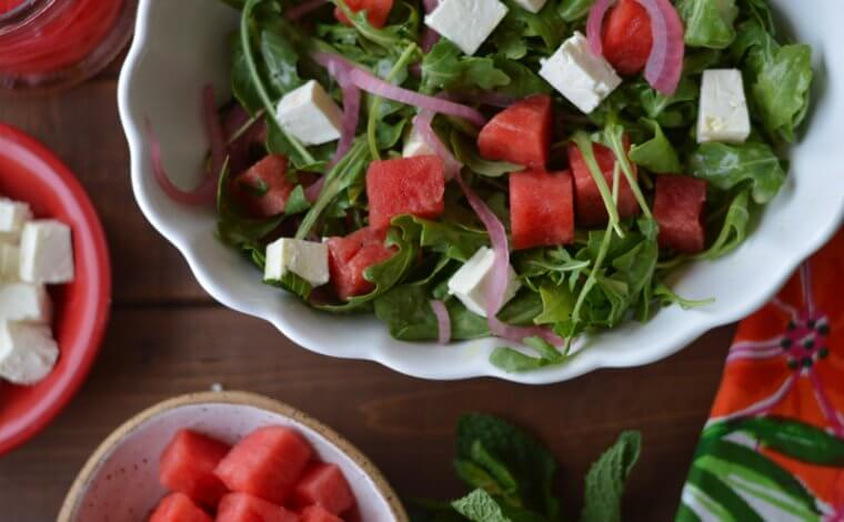 Watermelon Arugula Salad with Pickled Onions
