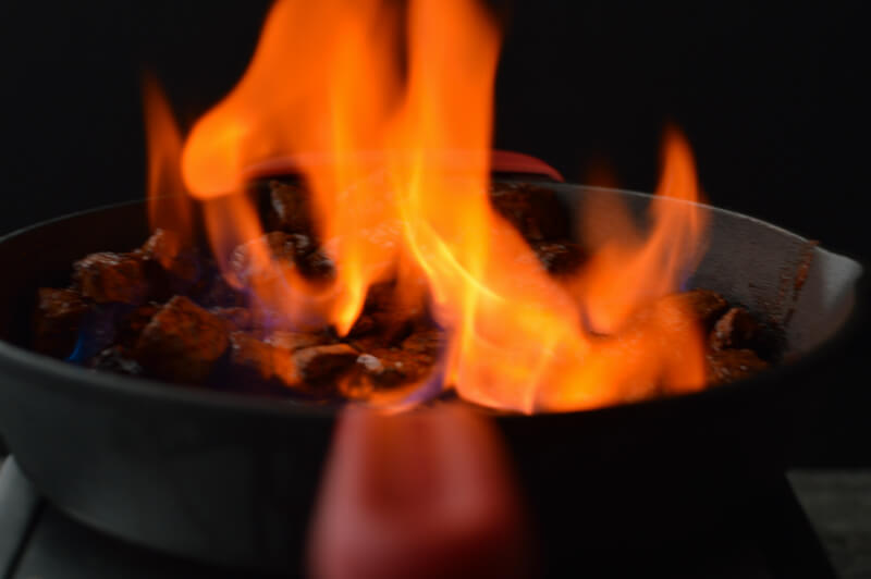 Beef Stroganoff Flambé