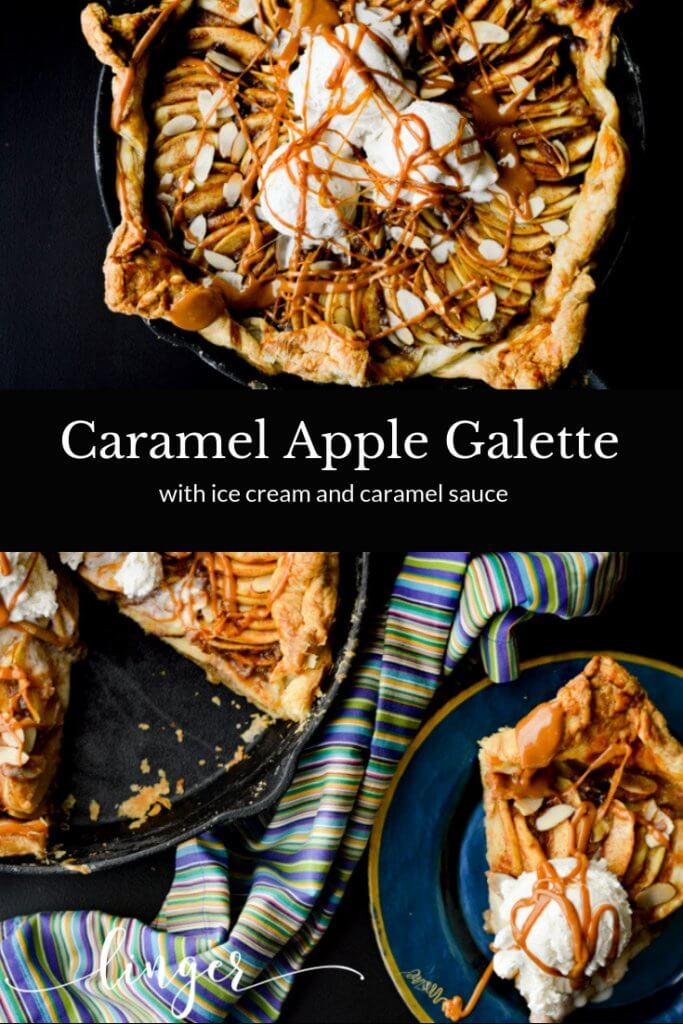 Two photos of a caramel apple galette with a blue striped napkin.