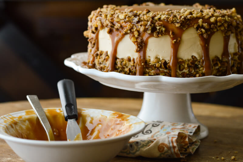 Salted Caramel Layered Pumpkin Cake
