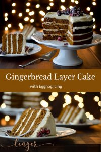 Two photos of gingerbread layer cake. One is the cake on a stand with a piece in the background and the other is two pieces of the layer cake.
