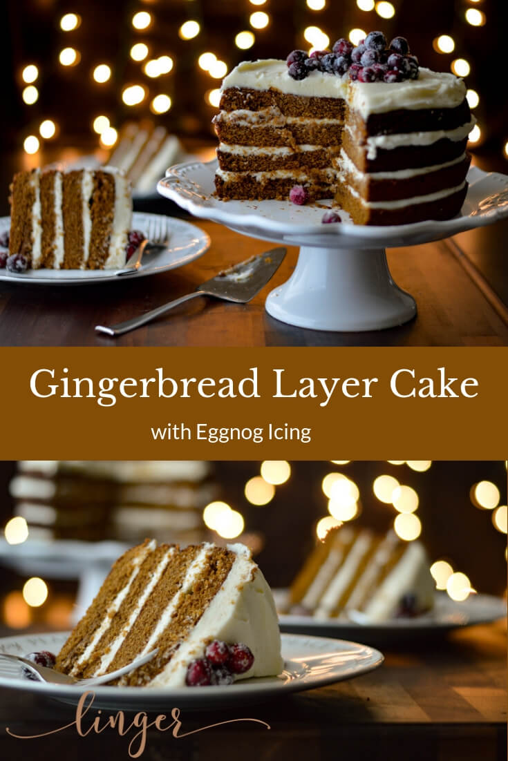 You'll love baking this Gingerbread Layer Cake for your Christmas table. This holiday dessert recipe is moist and is topped with an eggnog cream cheese frosting. #gingerbreadcake #holidaybaking #Christmas Menu #layercakes #creamcheesefrosting