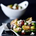 Roasted Brussel Sprouts with blue cheese and dates.
