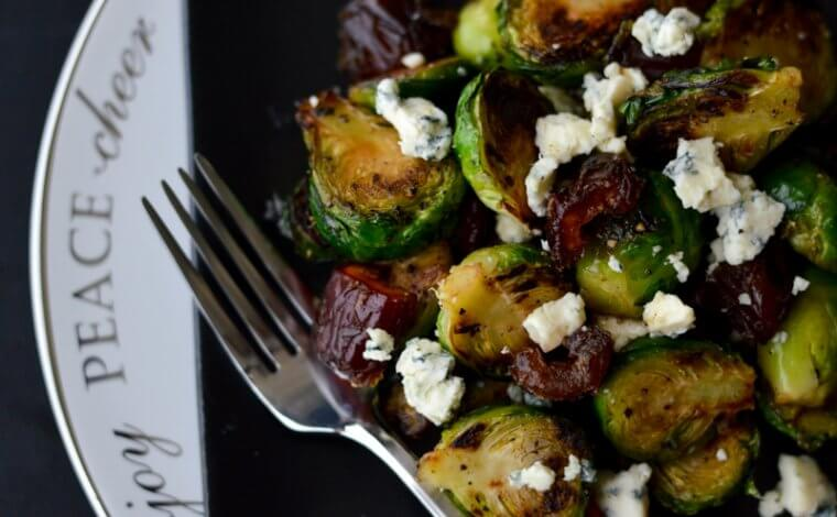 Brussel Sprouts with Medjool Dates and Blue Cheese
