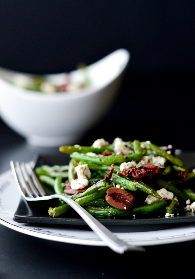 Two Elegant Side Dishes for Your Holiday Table - Roasted Green Beans with Feta, Sun-dried Tomatoes, and Kalamata Olives