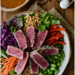 Crunchy Asian Seared Tuna Salad with Peanut Sauce