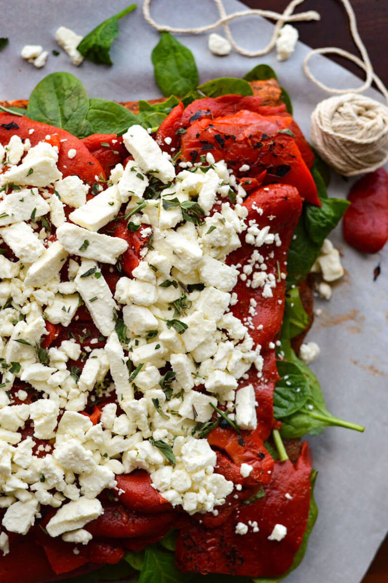 Pork Roast Stuffed with Roasted Red Peppers, Feta, and Spinach