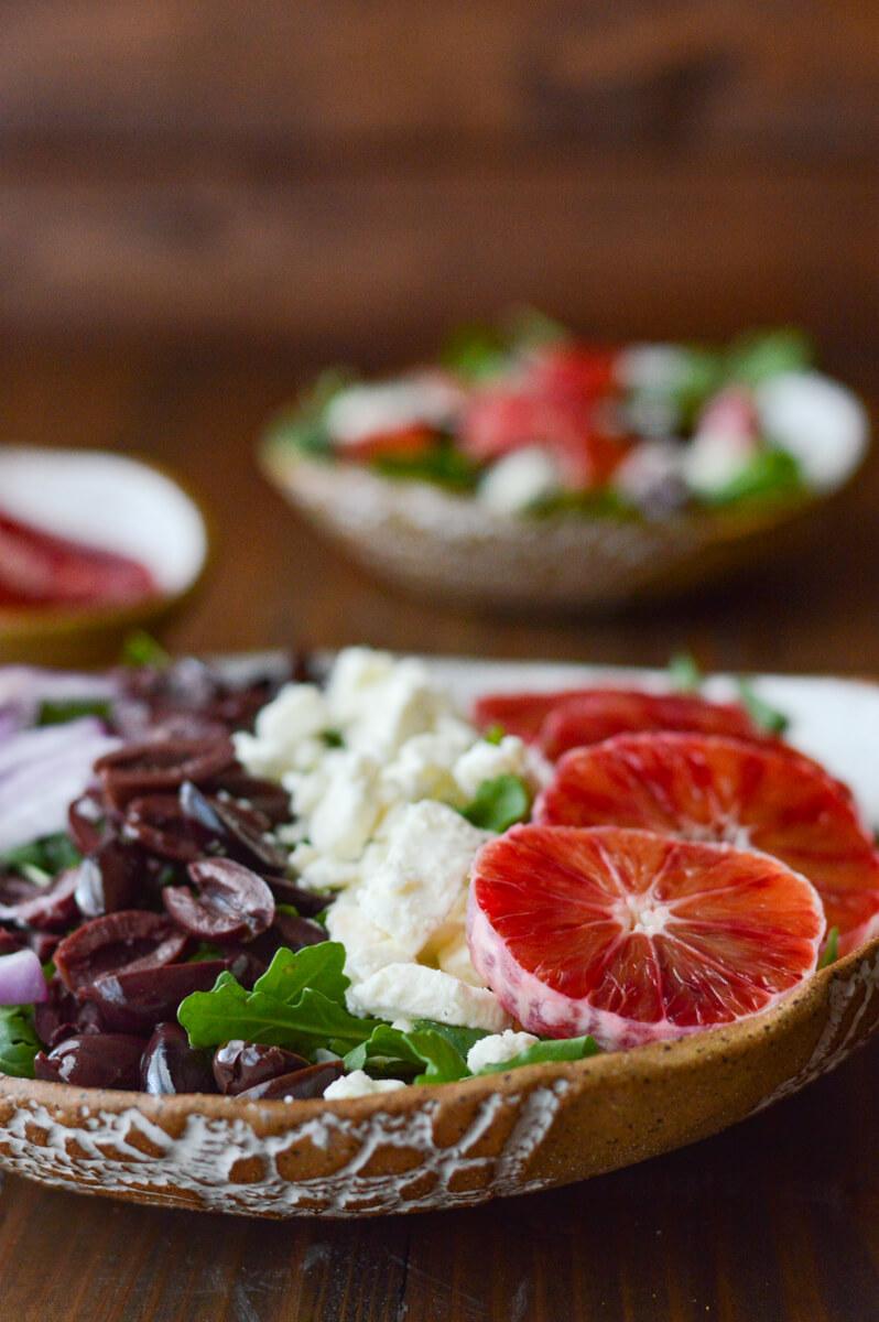 Blood Orange Arugula Salad with Feta and Kalamata Olives