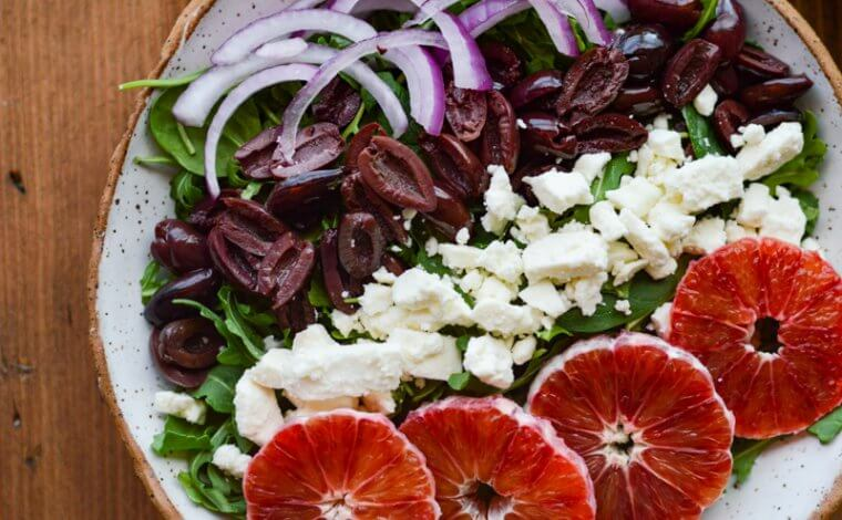 Blood Orange Arugula Salad with Feta and Kalamata Olives