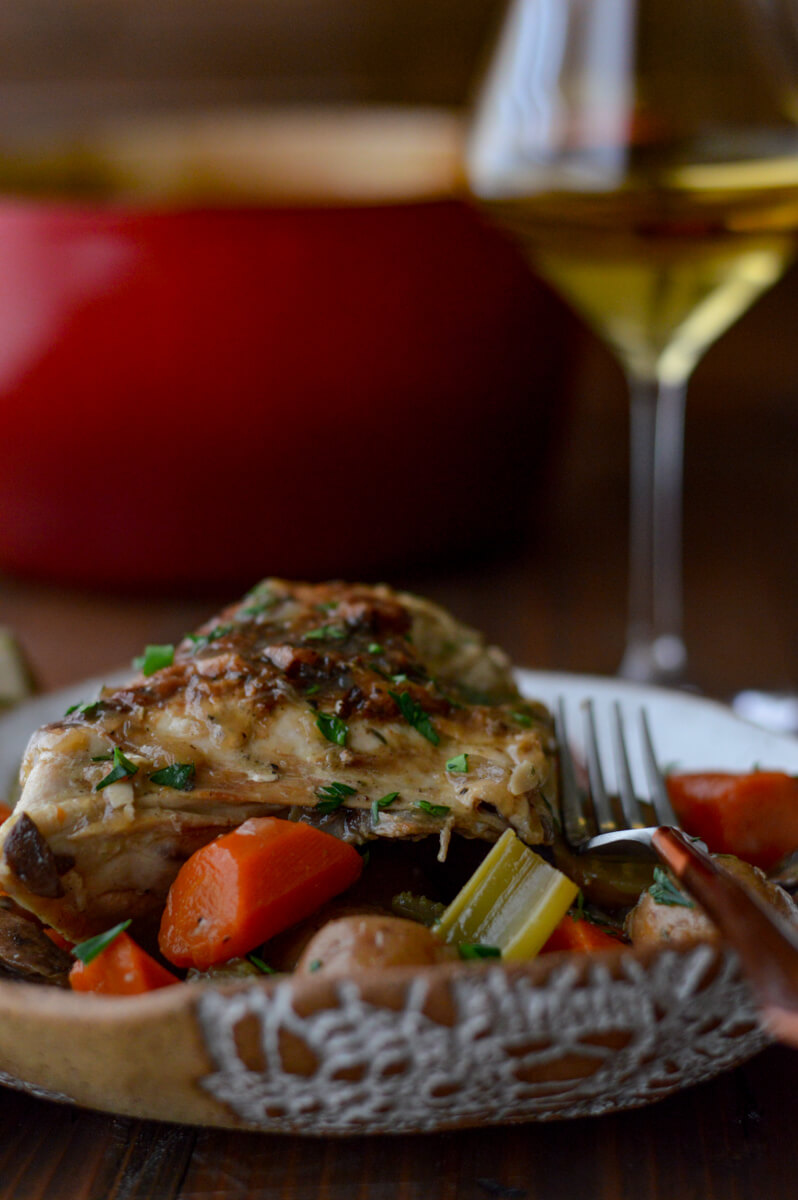 Chicken in White Wine Sauce and Vegetables
