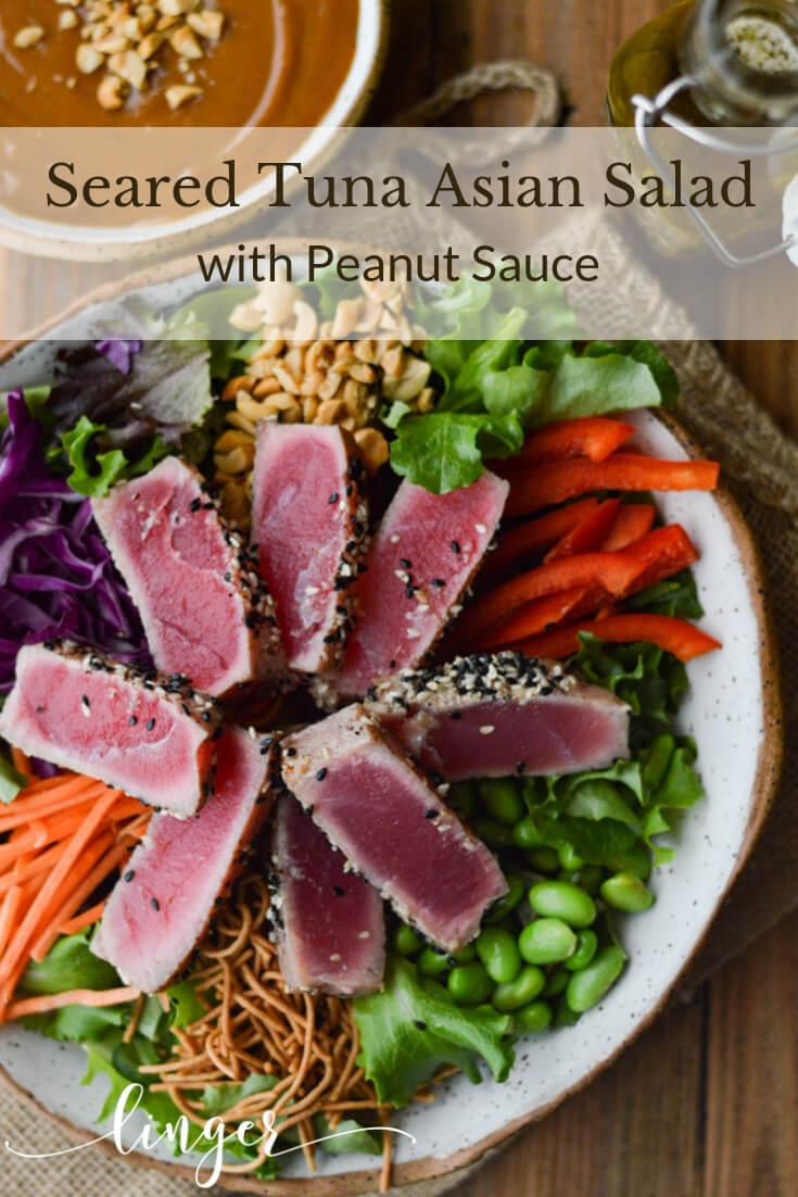 Crunchy Asian Seared Tuna Salad with Peanut Sauce is brimming with color, texture, and flavor. The tuna is like butter that melts in your mouth. Asian Dressing and Peanut sauce top this salad with yumminess. #ahituna #searedtuna #asiansalad #salads #saladentree #peanut-sauce