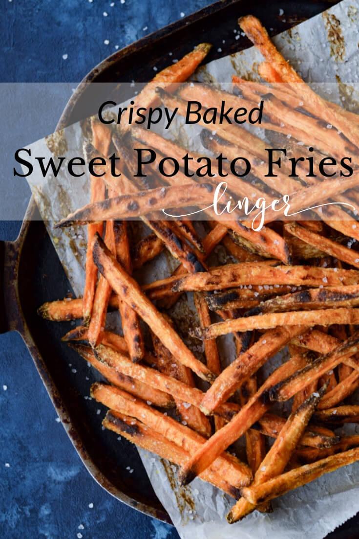 These Crispy Baked Sweet Potato Fries are scrumptiously healthy and downright easy to make. Sprinkle with salt right out of the oven then indulge. A delicious baked snack with 3 different dipping sauces. #sweetpotatoes #sweetpotatofries #dippingsauces