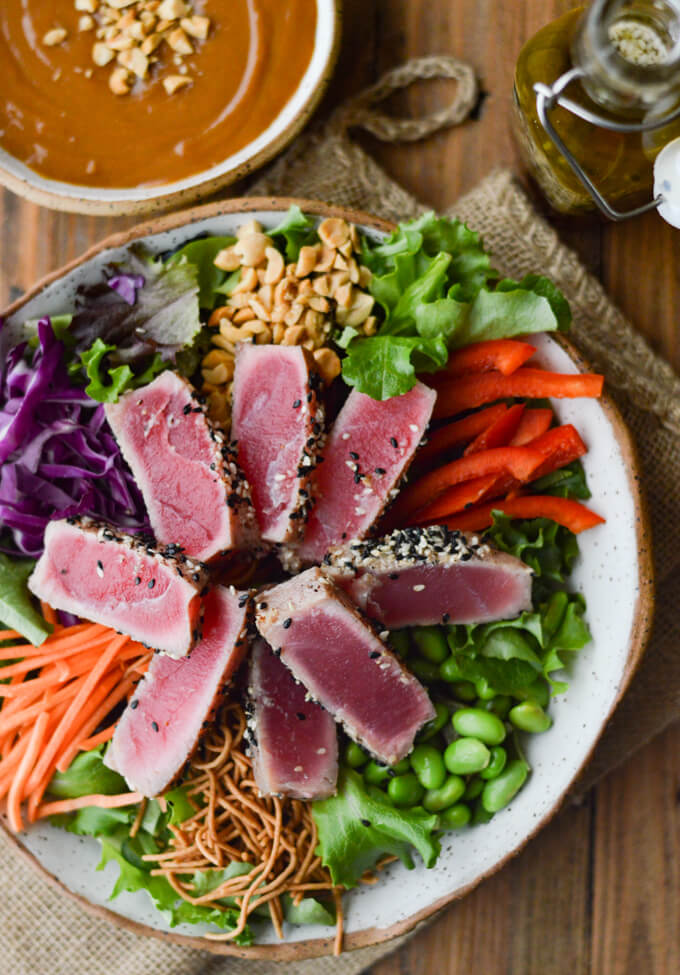 Asian Seared Tuna Salad With Spicy Peanut Sauce Linger