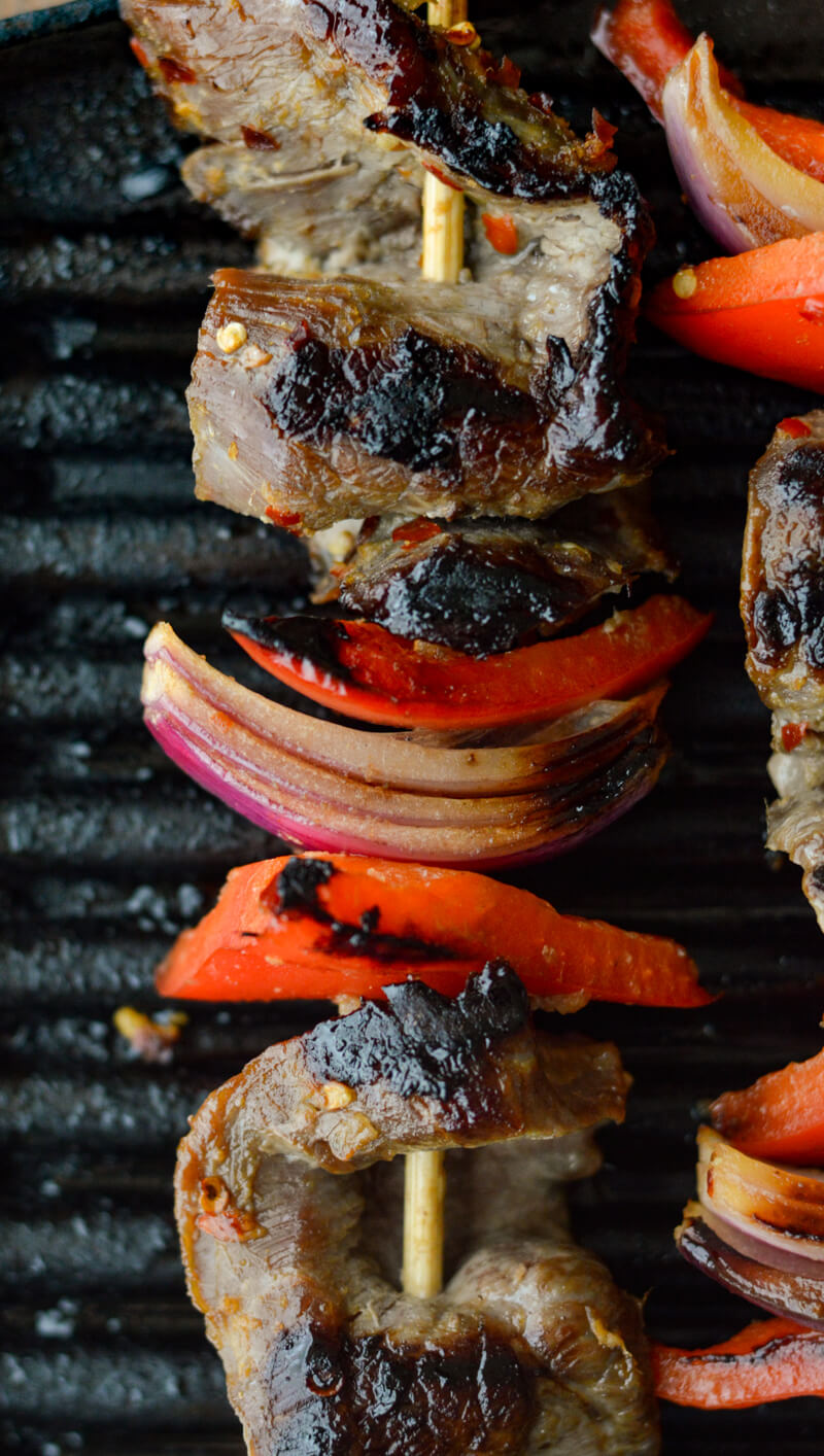 Beef Satay with Veggies on Electric Grill