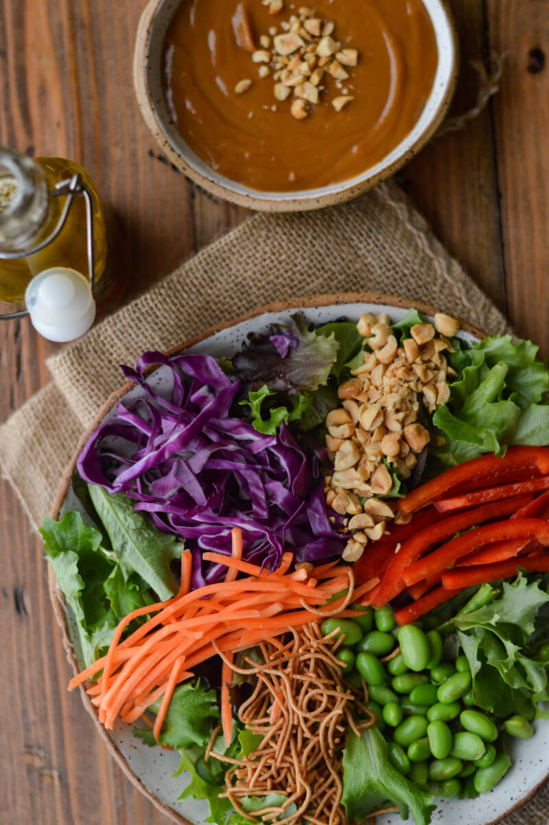 Colorful Asian Salad with peanut sauce