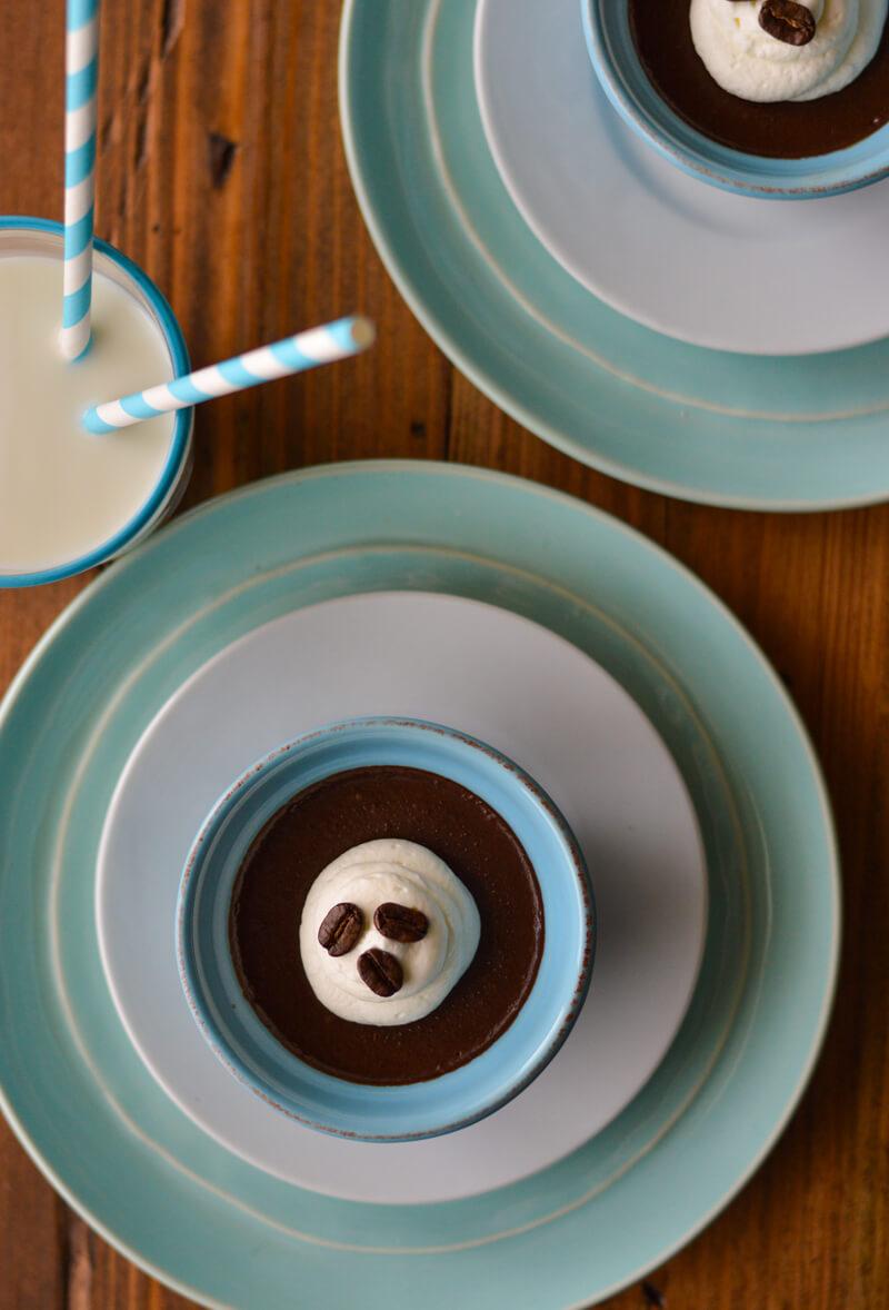 2 Keto Friendly Espresso Chocolate Pudding and Glass of Milk