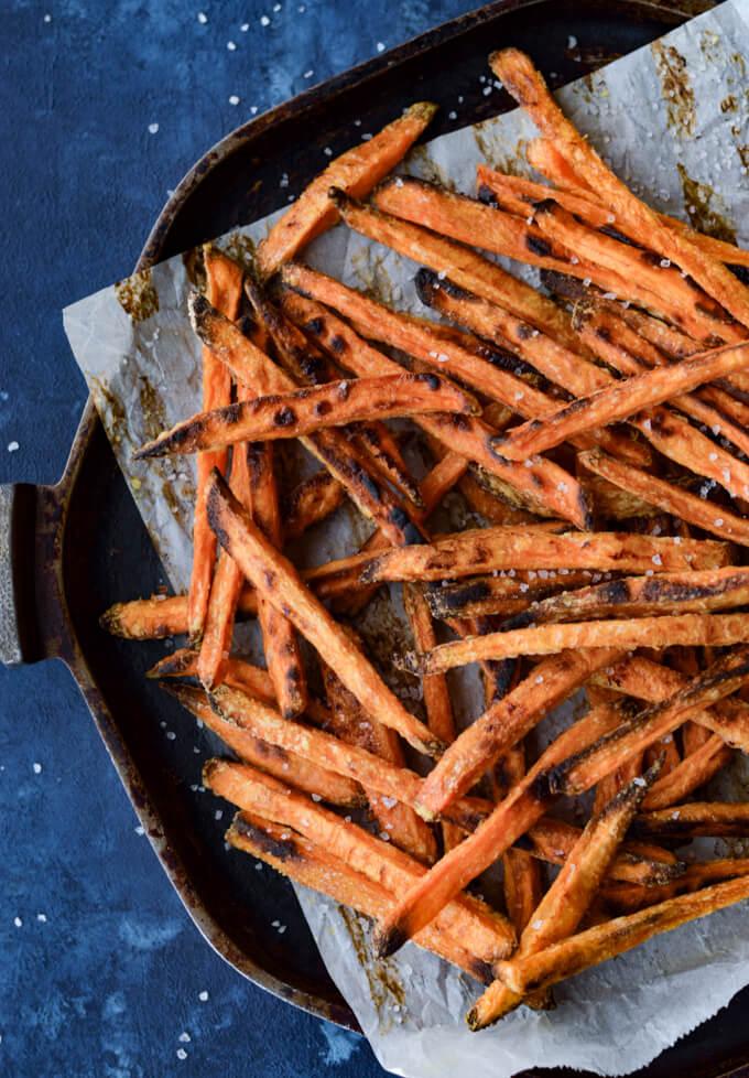 A pan of baked sweet potato fries.