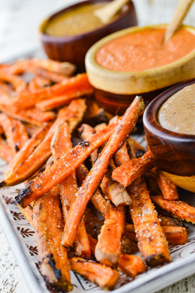Crispy Baked Sweet Potato Fries With Dipping Sauces Linger