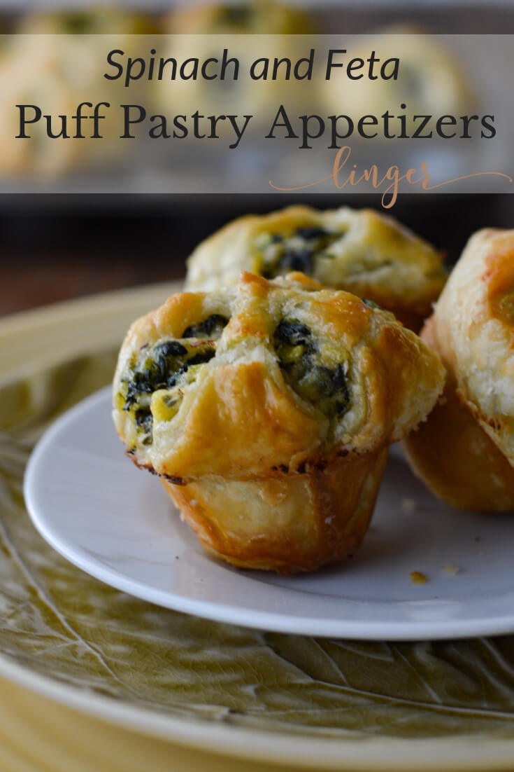 Spinach and Feta Puff Pastry Appetizers - flaky mini bites that are loaded with savory flavors. An easy make-ahead finger food recipe for any get-together or party that your guests will devour. #appetizers #fingerfoods #puffpastry