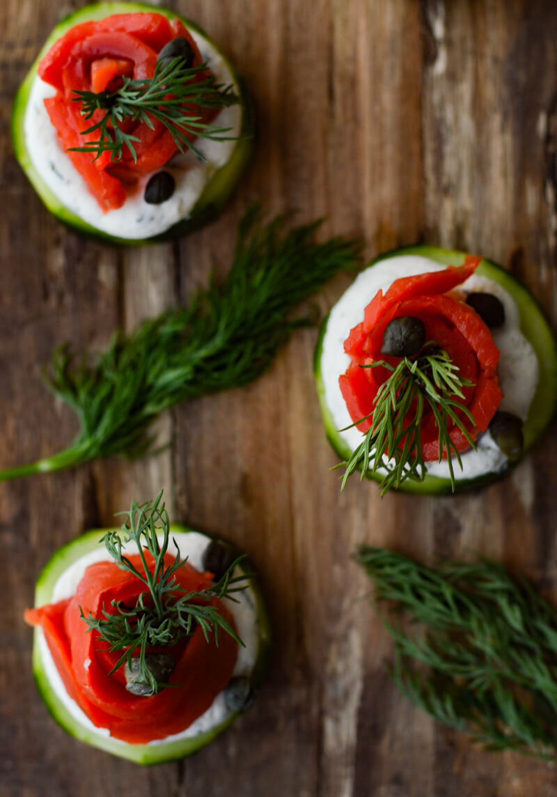 Smoked Salmon and Cream Cheese Timbales on a wooden tray