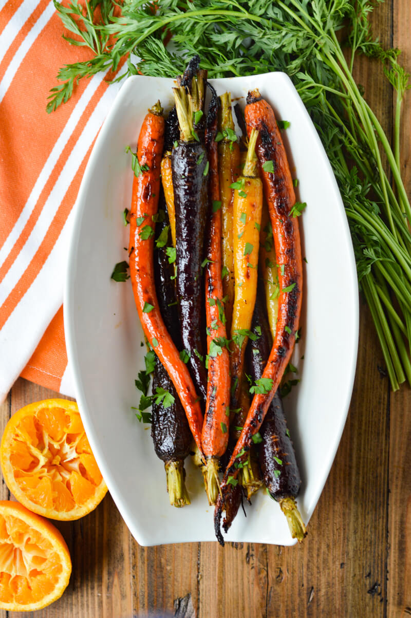 Roasted Candied Carrots with Orange Maple Syrup in a serving dish