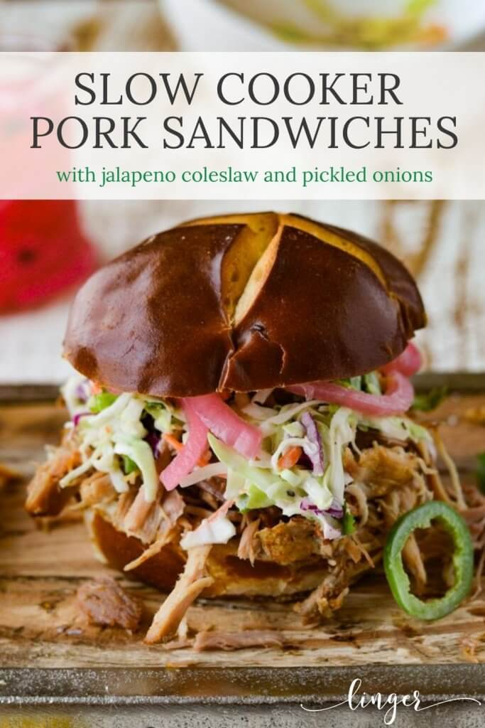 Slow Cooker Pulled Pork Sandwiches - with homemade coleslaw and pickled red onions