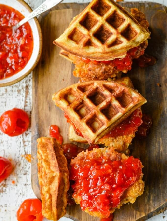 Chicken and Waffles with Sweet-Spicy Peppadew Jam