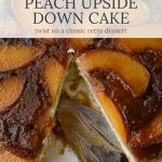 A close-up photo a peach upside down cake wit a cake server in the pan. A pieces has been taken out.