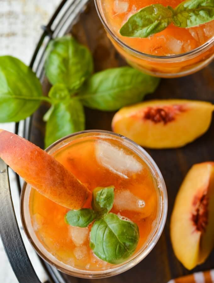 Basil and Fresh Peach Bourbon Cocktail