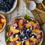 Fresh Peach Arugula Salad with Prosciutto and Blueberries