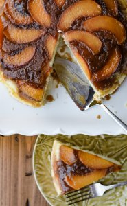 Fresh Peach Upside-Down Cake - top view with piece cut out