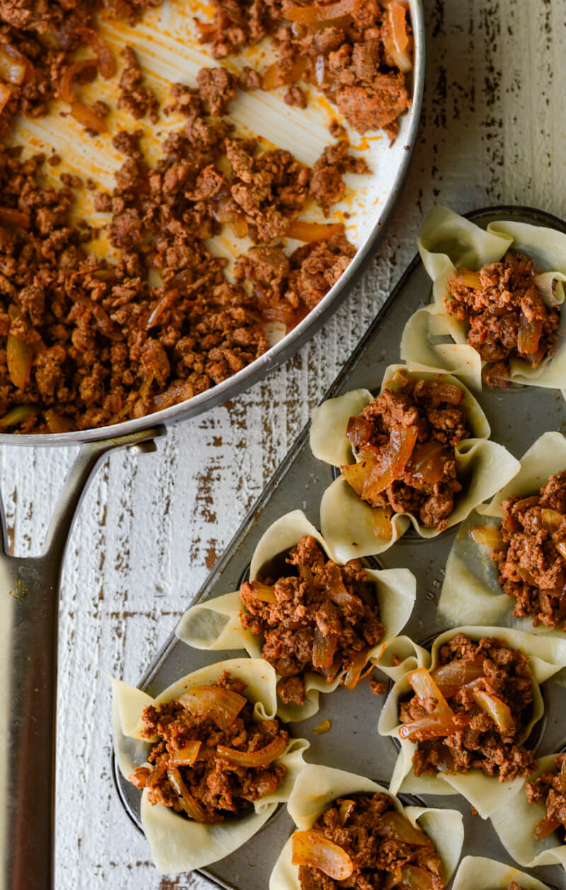 Mini Taco Wonton Cup Appetizers, in mini muffin tin not baked