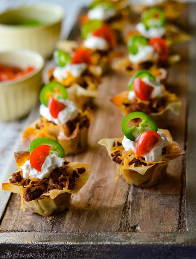 Mini Taco Wonton Cup Appetizers