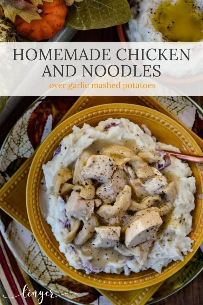 A bowl of homemade chicken and noodles over a bed of mashed potatoes.