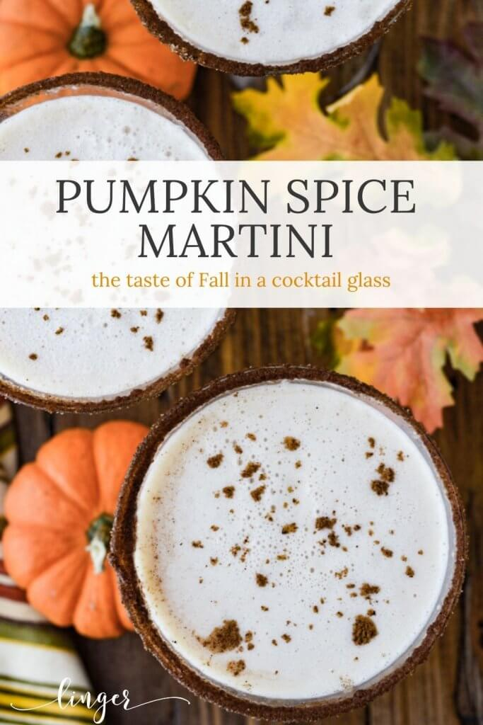Three pumpkin spice martinis viewed from above sprinkled with nutmeg. Small pumpkins and fall leaves on the table.