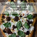 A cooked mediterranean pizza with lamb, feta, mozzarella, kalamata olives and sundried tomatoes.