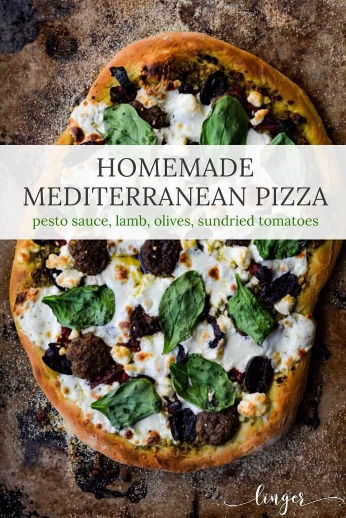A cooked mediterranean pizza with lamb, feta, mozzarella, kalamata olives and sundried tomatoes.