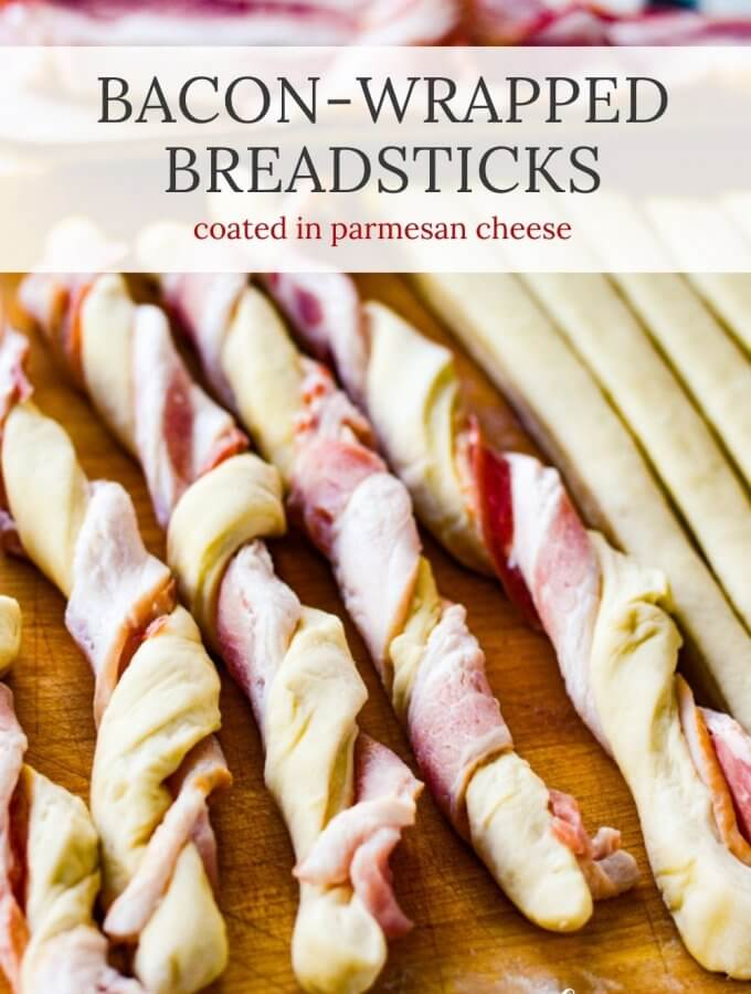 A closeup of baked bacon wrapped breadsticks