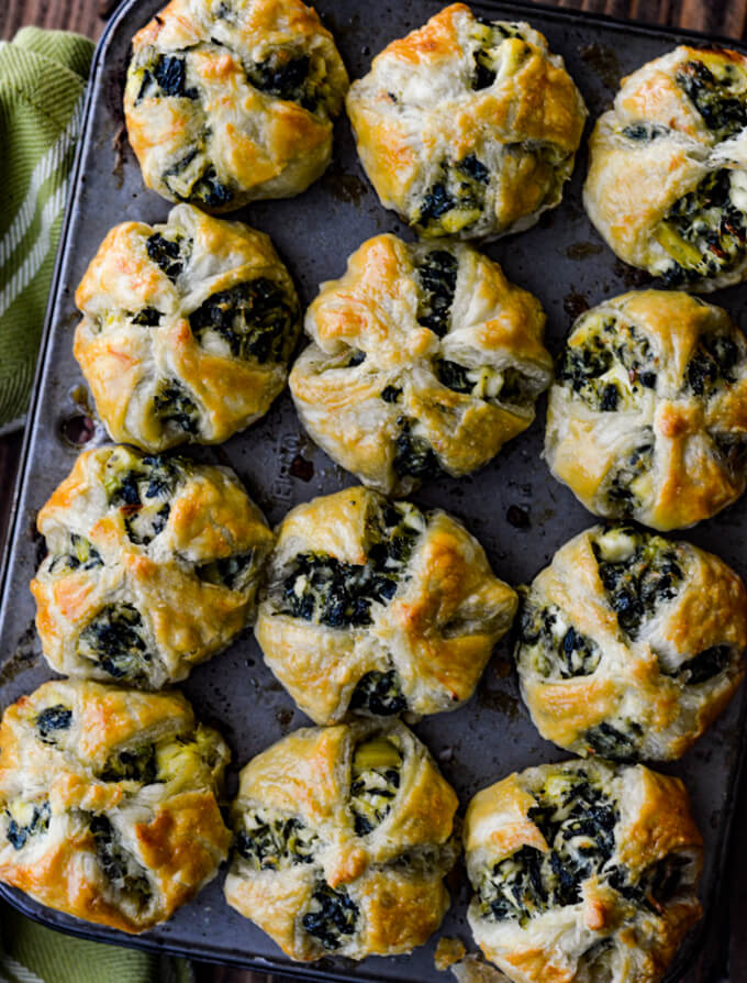 Spinach and Feta Puff Pastry Appetizers in mini muffin tins