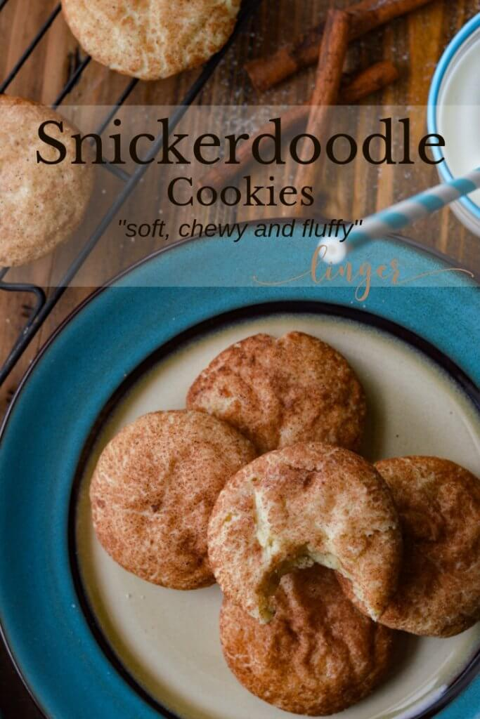 A blue and white plate with baked snickerdoodle cookies sitting on it. One of them has a bite taken out of it. A glass of milk with a blue and white striped straw sits next to the plate. Cinnamon sticks lay next to the plate and a baking rack with more cookies on it.