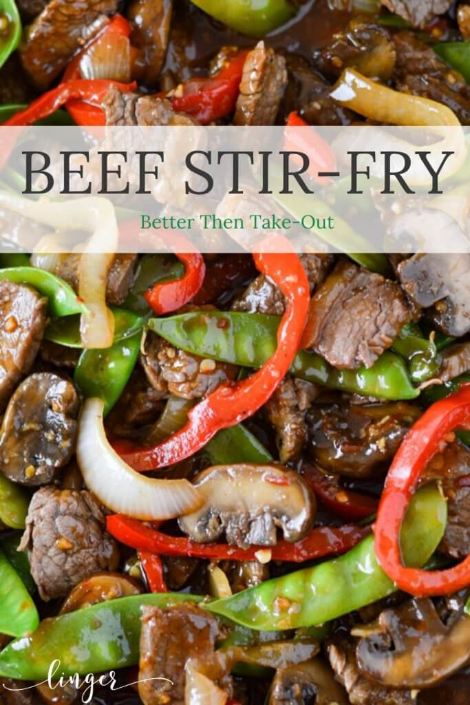 A close-up view of beef stir fry - flank steak, sauteed mushrooms, onions, red peppers and snow peas.