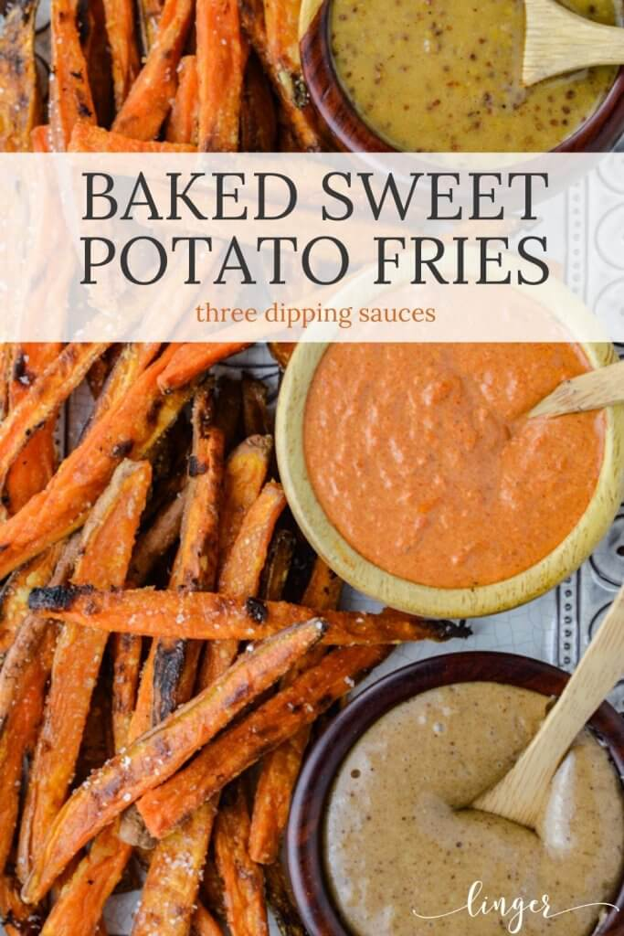 A platter of baked sweet potato dries sit next to three bowls of dipping sauces.
