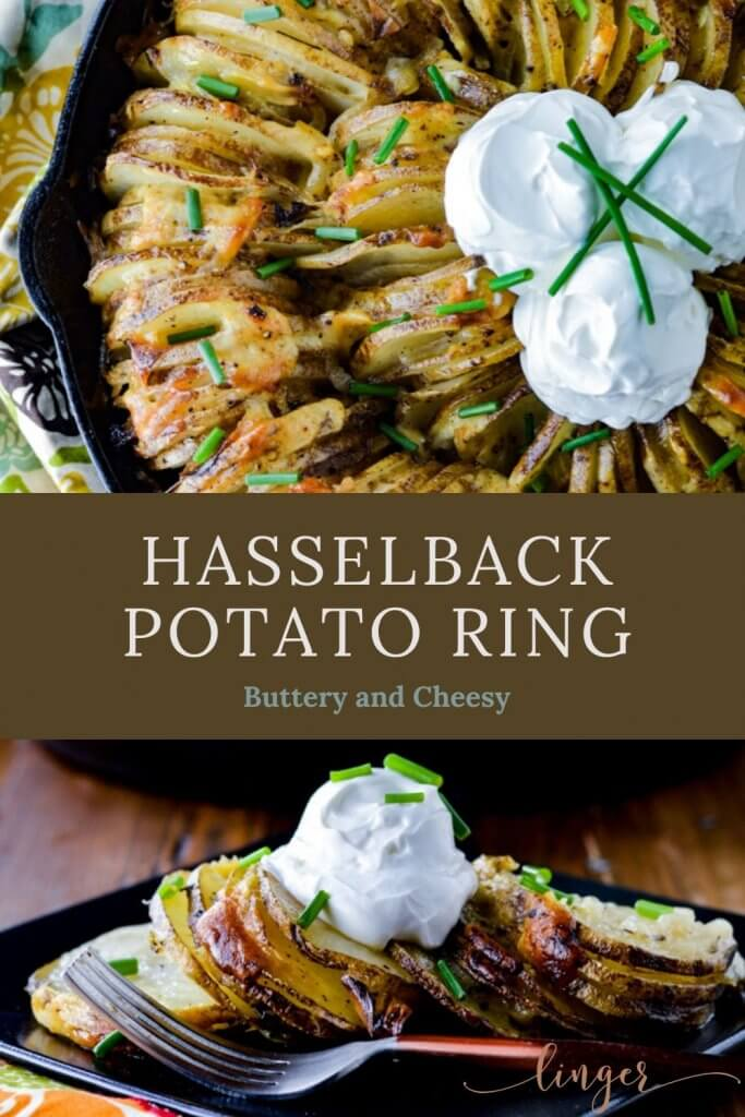 Hasselback potato ring dished up on a black pate with a garnishment of sour cream and chives. A cast iron skillet with potatoes are on the top of the photo.