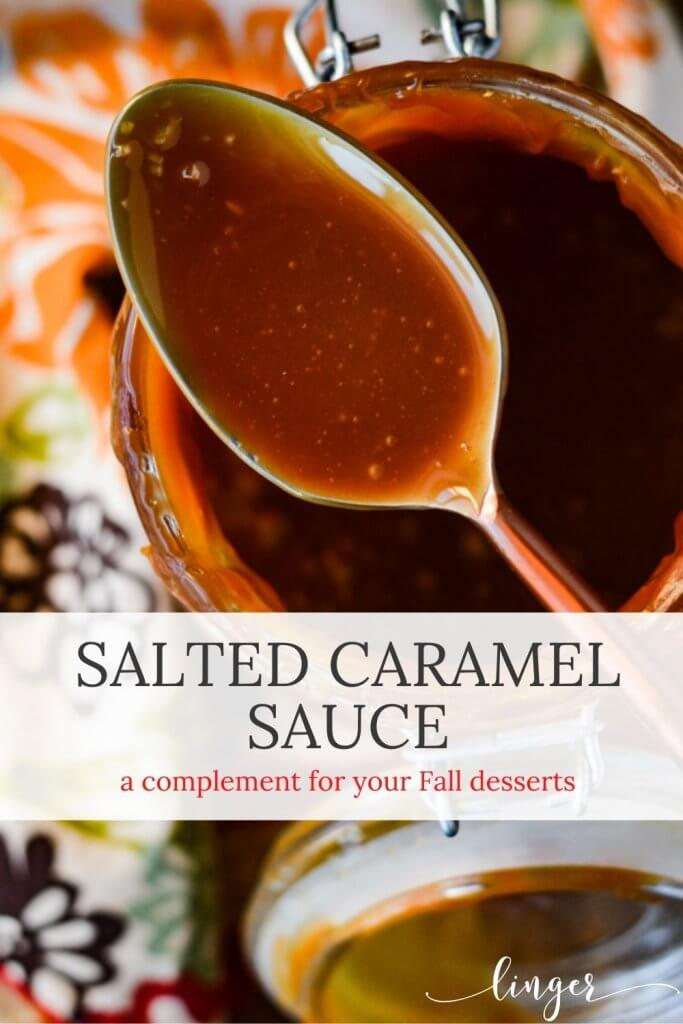 A top photograph of a jar of salted caramel sauce with a spoon of it resting on top of the jar. A colorful napkin sits beside it.