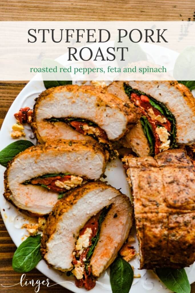 Slices of Pork Roast stuffed with roasted red peppers, spinach and feta cheese.