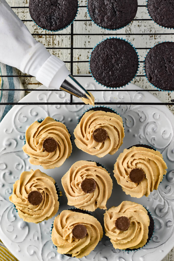 A wire baking rack holds baked chocolate cupcakes with a peanut butter frosting filled pastry bag sits on the rack. A white plate sticking out from under the rack holds chocolate peanut butter cupcakes that are frosted.