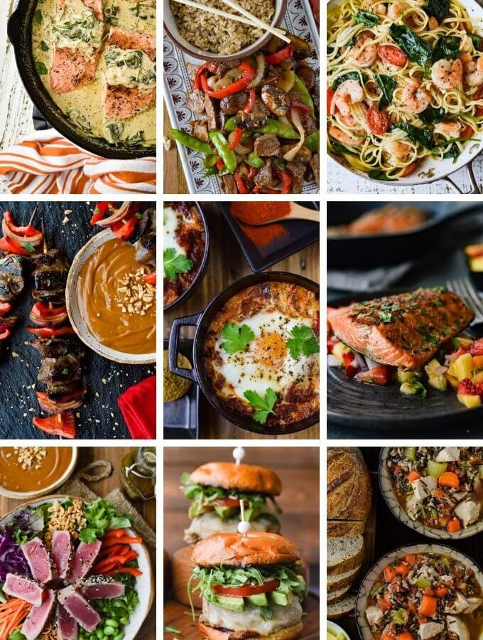 A collage of nine photos that are quick and easy dinner recipes.